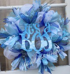 New Baby Wreath, Diy Wreath, Baby Wreaths, Hospital Door Wreaths, Baby Door Hangers, Deco Mesh Wreaths, Ribbon Wreaths, Diaper Wreath, Baby Crafts