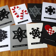 Christmas cards hama beads by vintageinteriorxx Probably not something I would do, but these are cute. Would be good for kids to make, I think. Hama Beads Design, Hama Beads Patterns, Beading Patterns, Christmas Perler Beads, Diy And Crafts, Christmas Crafts, Motifs Perler, Iron Beads, Theme Noel
