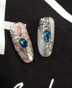 Gelenegle, negle foil, Negle design, Negle diamant. Gel nails, Nail art transfer foil nails
