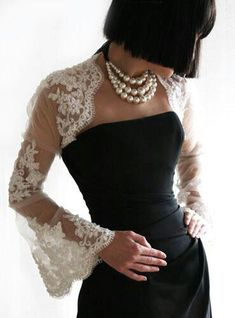 Lace bolero with bell sleeves