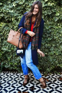 A navy blue oversized coat, plaid scarf, boyfriend jeans and a great brown Ralph Lauren Ricky Bag with Boden Leopard Print Heels. Leopard Print Heels, Oversized Coat, Trinidad, What I Wore, Boyfriend Jeans, Plaid Scarf, Fashion Beauty, Outfit Ideas, Navy Blue