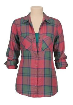 metallic snap front plaid shirt (original price, $29) available at #Maurices