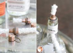 """In honor of all the Labor Day BBQs that are going down this weekend, we've created DIY tiki torches out of classic American liquor bottles. I originally spotted this idea at my friend Todd's fiesta party and being the party enthusiast I am, it was a """"tell me how you did that right now or …"""