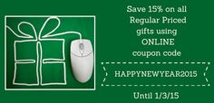 @thingsengraved #Coupon Code to Save 15% Online until Jan 3/15.