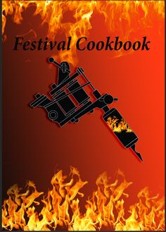 This is the final idea that i did for the Cookbook Cover, the tattoo machine in the middle of this piece has got flames inside it, using the magic wand tool to select the area, paste special and then paste into I added the realistic flames into the background because of the two ideas that i am crossing over for this project, for the back ground i made it so that it was two colours a light shade going into a darker shade. I really like this font as it is simple and also noticeable