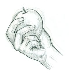 a hand holding an apple drawing - Google Search