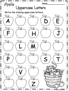 math Free Kindergarten Letter Writing Worksheet for Fall ApplesWrite the missing uppercase letters on the apples. There are two pages included in this sample page is from my September Packet fo Letter Writing Worksheets, English Worksheets For Kindergarten, Printable Preschool Worksheets, Free Kindergarten Worksheets, Kindergarten Learning, Kindergarten Writing, Tracing Letters, Nursery Worksheets, Preschool Phonics