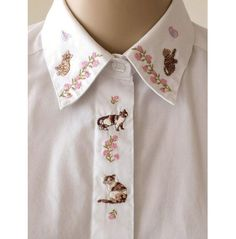 Embroidered Cat Collar Shirt Floral Embroidery White Blouse Oxford Shirt Cat Top Fly Front Size Kitsch Cute Tabby Cat Calico Cat XS to Small Fashion Details, Look Fashion, Diy Fashion, Mode Style, Style Me, Mode Top, Inspiration Mode, Gyaru, Cat Collars