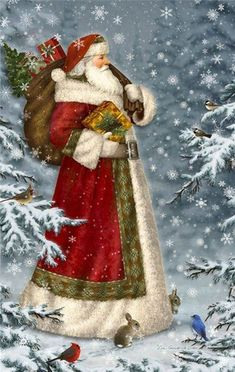 by Elizabeth Goodrick-Dillon More - Natal - Adorei ! Christmas Scenes, Noel Christmas, Victorian Christmas, Father Christmas, All Things Christmas, Winter Christmas, Christmas Crafts, Christmas Decorations, Christmas Mantles