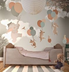 Animais voando em balões é o tema deste papel de parede. | Fonte: http://2littlehands.blogspot.gr/
