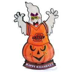 Oklahoma State Ghost Light-Up Lawn Stake by Fans With Pride. $34.95. 20 inches tall. A unique Halloween decoration. Features your favorite team's logo and colors. Light the way for trick-or-treaters this Halloween with one of these ghost lawn stakes. Each ghost lawn stake is outfitted with official team logos and colors.. Save 29%!