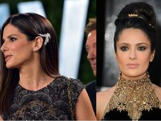 Sandra Bullock and Salma Hayek get thumbs down for hair jewelry at Oscars.