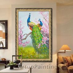 Find More Painting & Calligraphy Information about 100% handpainted Peacock Oil painting on Canvas Hand painted Big Size wall art pictures,High Quality painting pictures on walls,China picture oil painting Suppliers, Cheap pictures of children painting from ArtupPainting on Aliexpress.com