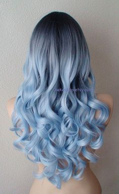 Dark roots Pastel silver blue wig. Long curly hair long side bangs wig. Airy…