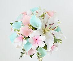 Wedding Aqua Mint Teal Callas Blush Silk Wedding Bouquet with