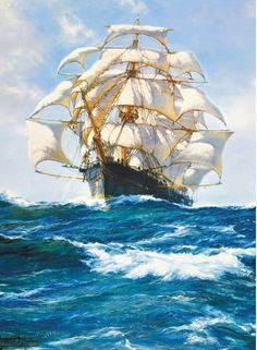 Wind and Sun by Montague Dawson Courtesy of Rosenstiel's. Please visit the website to see more charity cards and gifts http://www.shipwreckedmariners.org.uk/Home/SupportUs/CharityCardsAndGifts.aspx