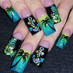 palms and anchors by Oli123 from Nail Art Gallery
