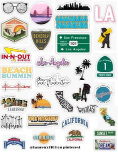 California sticker pack California stickers los angeles La california sunset blvd san francisco hollywood golden gate bridge in n out beverly hills travel retro vintage sticker pack overlays edits hyd Stickers Cool, Red Bubble Stickers, Tumblr Stickers, Phone Stickers, Planner Stickers, Vintage Sticker, Travel Sticker, Homemade Stickers, Aesthetic Stickers