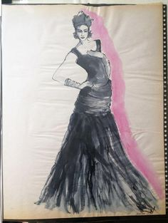 """From The Lilya Archives... """"Grace"""" from my first semester at FIT. She was my favorite model in the FIT roster. I always knew it'd be a good session when she was posing! Ink on Newsprint, 1989 xoxo"""