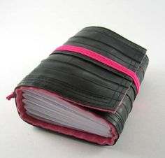 notebook made from recycled rubber bike inner tubes