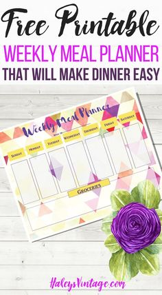 FREE Printable Weekly Meal Planner That Will Make Dinner Easy Are you sick and tired of figuring out what's for dinner? With my FREE Printable Weekly Meal Planner, you can officially make dinner easy again!