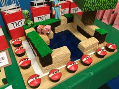 Minecraft cake and TNT cupcakes