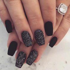 Chic Matte Black Nails with Sparkle #acrylicnails