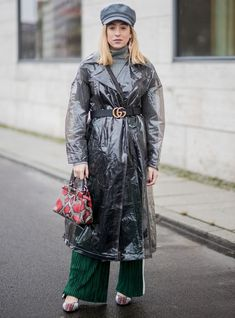 Some trends are more wearable than others, and while plastic may seem more suited to the catwalk, it's more approachable than first thought. Clear Raincoat, Pvc Raincoat, Plastic Raincoat, Hooded Raincoat, Giovanna Battaglia, Raincoats For Women, Sarah Jessica Parker, Rain Wear, Alexa Chung