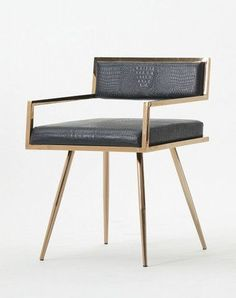 The Rosario dining chair is a magnificent display of grace featuring black crocodile textured leatherette upholstery with stiletto rose gold stainless steel legs. Features: Upholstered In Black or Whi