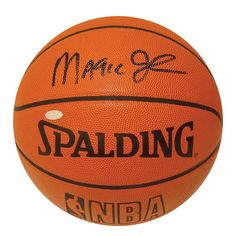 Steiner Sports Magic Johnson NBA Autographed Basketball, Orange
