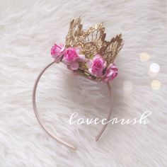 NEW sienna gold lace crown with pink flower by lovecrushbowtique, $22.00