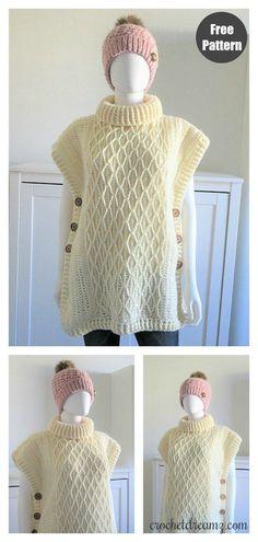 Faux Cable Poncho Free Crochet Pattern – Knitting For Beginners Poncho Knitting Patterns, Crochet Poncho Patterns, Crochet Coat, Crochet Shawls And Wraps, Scarf Patterns, Knitted Shawls, Crochet For Kids, Free Crochet, Crochet Baby