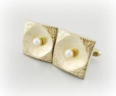 Vintage Mens Jewelry, Designer SWANK Cuff-Links, Cultured Pearls Cuff-Links, Gold Cuff-Links, 1950s 1960s Wedding Grooms Jewelry by RedGarnetVintage, $24.00