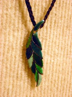 Enamel Leaf ~ Ronda Crossland. Pendant, Jewelry, Cloisenne, Copper. NFS. This artwork and others can be viewed at the Muchnic Art Gallery in Atchison, Kansas.