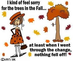 I kind of feel sorry for the trees in the fall. at least when I went trough the change, nothing fell off! Fall Humor, Senior Humor, Funny Jokes, Hilarious, Funny Bunnies, Girly Quotes, Girls Club, Inevitable, Girl Cartoon