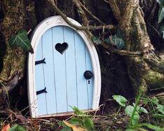 Fairy Door 'Iris' in Red Red Fairy door Fairy door | Etsy Fairy Doors On Trees, Fairy Garden Doors, Christmas Fairy, Blue Christmas, Decoupage Vintage, Tooth Fairy Doors, Elf Door, Pumpkin House, Talisman