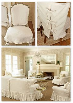 Slipcovers by Gracie Wilkins of Gracie's Custom Interiors  --- Lauren Ross's home in Country Living, fotos by Joseph De Leo ~~~