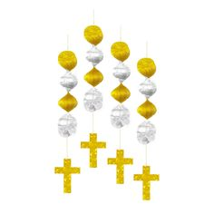 Foil Cross Hanging Decorations 18in 4ct | Wally's Party Factory #easter #cross #decor
