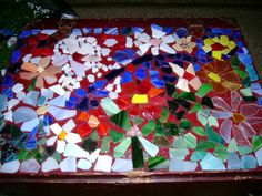 Glass chip mosaic tabletop in process