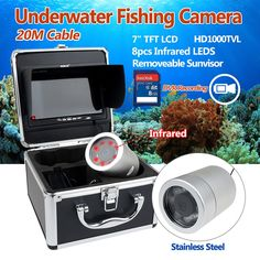 "308.81$  Buy now - http://ali3gr.worldwells.pw/go.php?t=32761568182 - ""Free shipping!7"""" LCD 20M IR Underwater Fishing Camera DVR Recording Fish finder+Lights Control"""