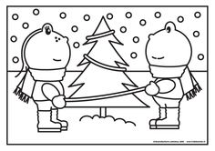 Kleurplaat kerst, Frokkie & Lola in de sneeuw