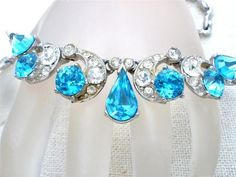 Blue Rhinestone Bogoff Vintage Necklace Signed Rhodium Plated High End Designer | eBay