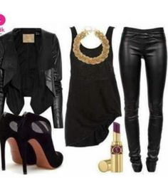 love it all minus the necklace. would use a long gold necklace.