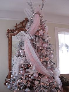 Description: French Beauty Mark: Sugar Plum Fairy Christmas Tree is . Pink Christmas Decorations, Christmas Tree Themes, Holiday Tree, Christmas Wreaths, Xmas Tree, Christmas Villages, Christmas Ornaments, Shabby Chic Christmas, Christmas Fairy
