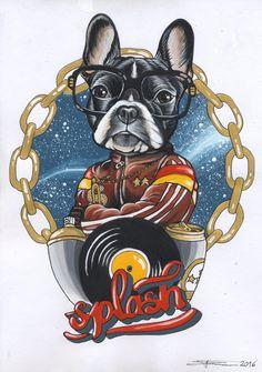 Frenchie , French Bulldog , sketch , sketchbook , blackbook , pet portrait , dog , splash festival , splash