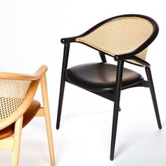 The Umami cane armchair features a backrest made from two bentwood beech pieces that curve together and combine with the legs to create a slender frame. The upholstered seat is comfortable, the cane back intriguing. The cane is woven by hand, adding an artisanal element into the mix and when paired with the light frame, creates a truly contemporary cane chair. Contemporary Dining Chairs, Contract Furniture, Upholstery, Interior Design, Wood, Fabric Suppliers, Armchairs, Home Decor, Objects