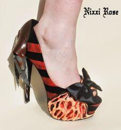 Zapatos de tacón, Freddy Krueger, diseñados por Nixxi Rose http://www.syfyfantasy.com/2014/06/zapatos-de-tacon-freddy-krueger.html#more