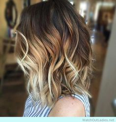 CARAMEL AND BLONDE BALAYAGE WITH LOB HAIRCUT - watchoutladies.net