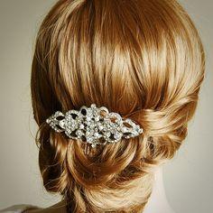 YETTA, Victorian Pearl and Rhinestone Bridal Hair Comb, Wedding Bridal Comb, Vintage Wedding Hair Accessories, Crystal Wedding Hair Comb. $68.00, via Etsy.