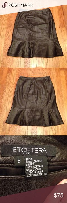 "ETCETERA Black Lambskin Leather Skirt Black Lambskin Leather skirt made by ETCETERA. Feminine A-line cut skirt w/ 6"" (slight) ruffle at hemline. 2"" band at waist w/ zipper in back & 2 button closure. Measures: 15"" Waist & 22"" Inseam. Etcetera Skirts Midi"